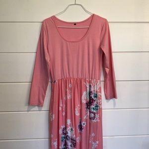 Mixed Pink Floral Maxi Dress